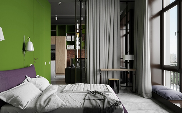05-The-master-bedroom-is-decorated-with-grey-there-are-purple-and-green-accents