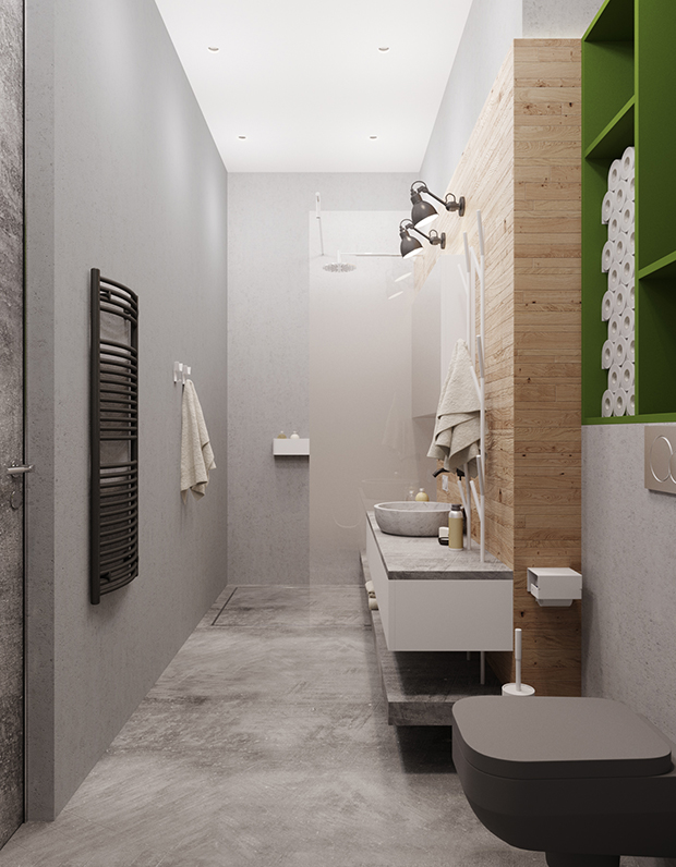 07-The-bathroom-is-industrial-with-lots-of-concrete-and-a-wooden-wall