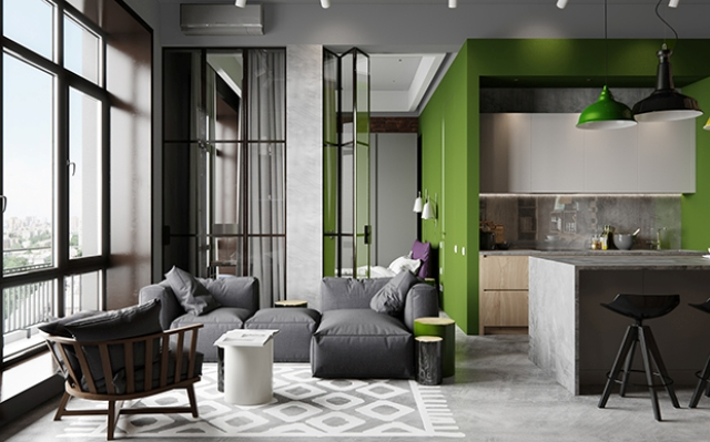 02-Calm-grey-backdrop-was-accentuated-with-bold-green-touches-and-warmed-up-with-light-woods