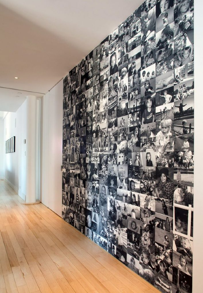 wall-decorated-in-black-and-white-photos-floor-to-ceiling